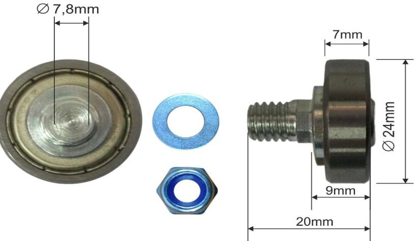 Ролик для сдвижной крыши 24x7mm Edscha 83004