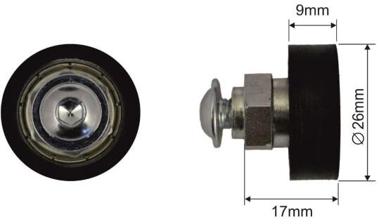 Ролик для сдвижной крыши 26x9mm Schmitz 300-51.168, 1057718, 1110712