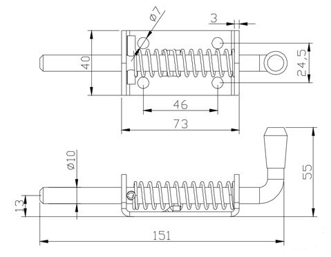 Фиксатор ворот штырьковый L-154mm.