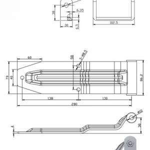 Петля задних ворот 250 мм (газель)
