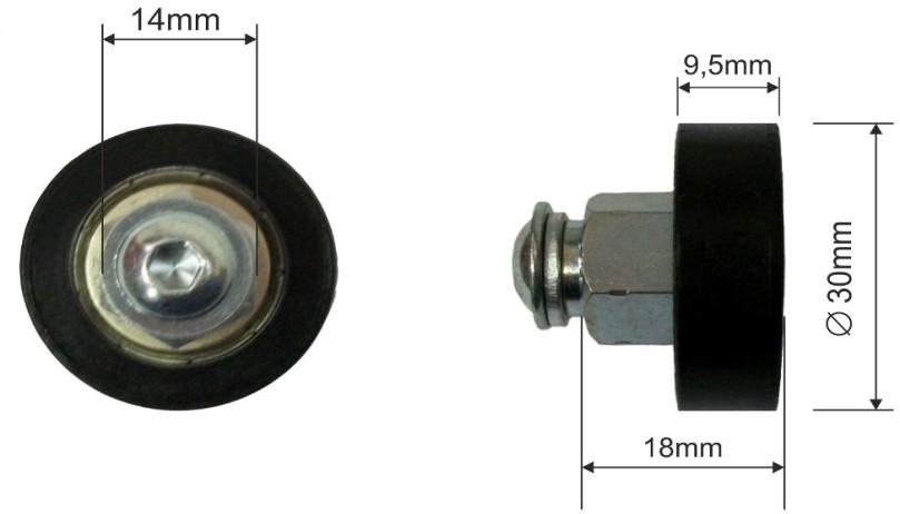 Ролик для сдвижной крыши 30x9mm Schmitz 300-51.158, 1026011, 1016466